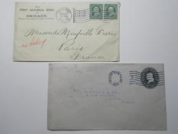 Marcophilie  -  Etats Unis Amerique USA Lot 2 Lettres Enveloppes Oblitérations (2684) - Marcofilia