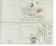REVOLUTION Marque Rouge P.PAYE PARIS + Marque Rouge VERIFIE Sur Pli DIVISION DE ¨SÛRETE Pour LONS LE SAUNIER Jura  ...G - 1701-1800: Precursori XVIII