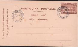 Entier CP Carton Rose Cachet Servizio Postale Italiano Mazagan Timbre Consulat Anglais Italien 20ct Marrakesh Mazagan - Other