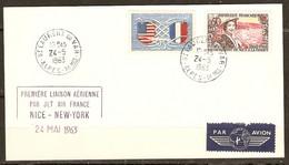 CARTE St LAURENT DU VAR 24/5/1963 PREMIERE LIAISON JET AIR FRANCE NICE NEW YORK - INAUGURATION CEP LA GAUDE IBM - Luftpost