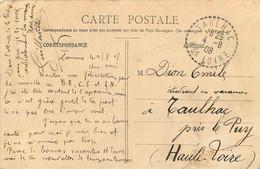 Cad Timbre A Date Timbre A Date Facteur Boitier TAULHAC - HAUTE LOIRE 1908 - 1877-1920: Semi-moderne Periode