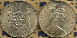 FIJI $1 EMBLEM  FRONT QEII HEAD BACK 1969 UNC 1 YEAR  ONLY KM32 READ DESCRIPTION CAREFULLY !!! - Fiji