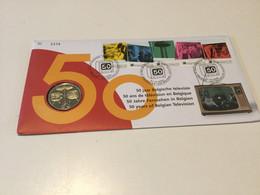 Belgique N°3213\7 Sur Numisletter (timbres + Médaille) 50 Ans De La Télévision Belge - Numisletters