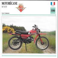 1980 - FICHE TECHNIQUE MOTO - DÉTAIL COMPLET À L'ENDOS - MOTOBÉCANE M 50 EV - TOUT TERRAIN - FRANCE - Motorräder