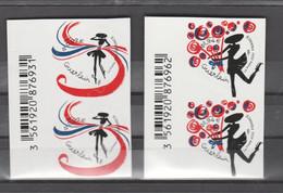 """FRANCE / 2020 / Y&T N° AA 1813/1814 ** : """"Cœurs Guerlain"""" (2 TP Adhésifs De Feuille) X 2 Paires Tous BdF G - Adhesive Stamps"""
