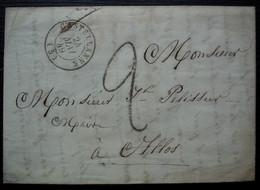 Castellane 24 Mai 1849 Lettre Sans Timbre Pour Mr Pelissier Maire D'Allos - 1849-1876: Periodo Classico