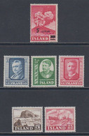 1954 ** Islande (sans Charn., MNH, Postfrish) Complete Yv 250/5  Mi 292/7  FA 327/32  (6v) - Años Completos