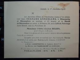 Invitation - Faire-part - Anciens élèves Institutions Jeanne-d'Arc - AUMALE - 1933 - Anuncios