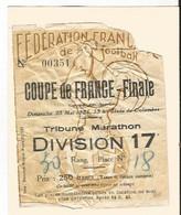 Sport Ticket Football FRANCE 1954 FINALE Nice Marseille 2-1  Stade De Colombes - Photo Prise En Tribune - Tickets - Entradas