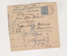CROATIA HUNGARY 1891 Osijek Parcel Card - Croacia
