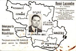 Carte 1950 René Lacombe (compagnon De La Libération ) Née à Combrée : Union Pour La Nouvelle République Avec De Gaulle - Autres Communes