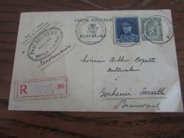 Carte Postale N° 122 (35C) + N° 320 (1,75f) Expédiée En Recommandée De NOVILLE-LES-BOIS En 1935 (port Exact) - Postkaarten [1934-51]