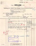 6-1837    Facture   1933 THE SOLDO A LONDON - M. SCHNEIDER A PARIS - 1900 – 1949