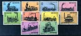 1964 SAN MARINO SET MNH ** 672/681 Locomotive Treni - Unused Stamps