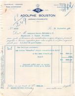 8-0644    FACTURE  1940 EAUX DE VIES ADOLPHE BOUSTON A JARNAC - M. FOUCAULD A COGNAC - France
