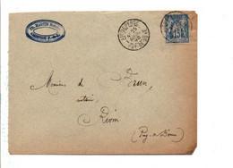 SAGE SUR LETTRE DE AIGUEPERSE PUY DE DOME 1892 - Storia Postale