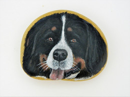 Original Painting Of A Bernese Dog Hand Painted On A Smooth Beach Stone Paperweight - Dogs