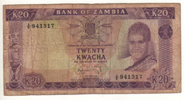 ZAMBIA  20 Kwacha  P13c  ( ND 1969  -   President Kenneth Kaunda - National Assembly Lusaka,  On Back ) - Zambia
