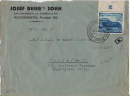ALLEMAGNE REICH  YT N°691 SEUL SUR LETTRE OBLITERE DE RICHENBERG SUDETEN(LIBEREC) POUR LA FRANCE CENSURE - Covers & Documents