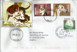 SWEDEN. English Whippet Dog & Havanese Dog.Letter From Kalmar County,sent To Andorra,with Vignette Prevention COVID19 - Perros