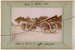 Camp De Chalons Napoléon III - Marne -51 -  En 1894 :Canon De 155 Court Et La Batterie D'expériences . - Documents
