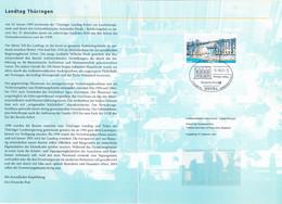 BRD FGR RFA -  Erinnerungsblatt Thüringer Landtag (Mi.Nr. 2213) 2001  !!! Ersttagsstempel ERFURT !!! - Storia Postale