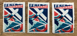 VIGNETTE 1931 - Lot De 3 Timbres - MNH / NEUF - FETE AERIENNE DE LIMOGES - TBE - Erinnophilie