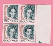 2003 ITALIA Donna Donne Nell'arte Blocco Quartina 0,50 € MNH Varietà Stampa Evanescente Occhio Bianco - 6. 1946-.. Republic