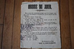 Affiche Guerre De 1870 Réquisition Allemande Par  Le Général En Chef  De VOIGTS RHETZ - Historische Documenten