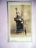 PHOTO CDV 19 EME MILITAIRE SOLDAT OFFICIER EPEE  Cabinet CHAMUSSY  A CHAMBERY - Guerra, Militares