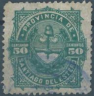 Chile - Cile, Revenue Stamp 50c,Provincia De Santiago Del Estero,Used And Rare! - Cile
