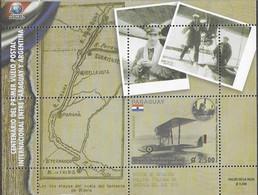 PARAGUAY, 2019, MNH, PLANES, CENTENARY OF THE FIRST INTERNATIONAL POSTAL FLIGHT BETWEEN ARGENTINA & PARAGUAY, S/SHEET - Posta