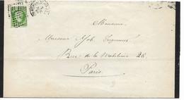EMPIRE N° 12 5c Vert Seul Sur Lettre PARIS Pour PARIS CAD 6° Distribution Bureau G Faire Part De Décès 2.11.1860  ...G - 1853-1860 Napoleon III