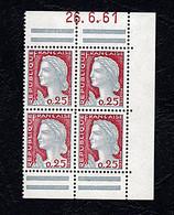 Mariane De Décaris - Bloc De 4 - 0,25c - Coin Daté - 1960-1969