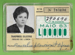 Lisboa - Bilhete - Passe - Ticket - Billet - Transportes Colectivos Da Região De Lisboa - Autocarro - Bus - Portugal - Season Ticket