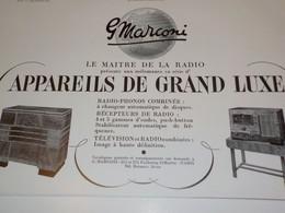ANCIENNE PUBLICITE LE MAITRE DE LA RADIO MARCONI 1938 - Altri