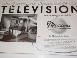 ANCIENNE PUBLICITE PRESENTES AU PUBLIC LES PREMIERS TELEVISION MARCONI 1938 - Publicidad