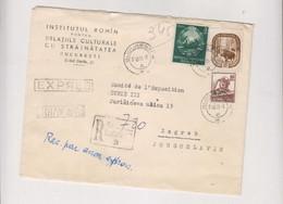 ROMANIA 1955 BUCURESTI Nice Registered Airmail Priority  Cover To Yugoslavia - Sin Clasificación