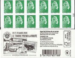 """CARNET 1598-C 11 Marianne D' YSEULT YZ """"LE TIMBRE PREND LA ROUTE"""" Avec Carré Noir. A Saisir. - Usados Corriente"""