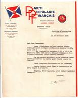 1936 LETTRE A ENTETE PPF PARTI POPULAIRE FRANCAIS / DORIOT / ABREMSKI  /  REUNION BOULOGNE BILLANCOURT   LAGARDE  C1280 - Documentos Históricos