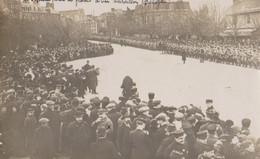 Granville  50 Carte Photo  Départ Pour Le Front Bataillon Belge   Place De La Gare  Soldats Et Foule - Granville