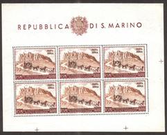 San Marino  1951 - 75th Anniv Of The U.P.U , Scott# C75 - Sheet Of 6 - MNH ** , Signed - Neufs