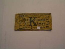 Titres De Transport > Tickets Métropolitain Pour 2 Voyages > Métro - Lot De 2 Tickets - Unclassified