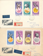 Hungary Registered Covers Sent To DDR 4-1-1966 With Complete Set Of 7 SPACE 1965 Stamps On 2 Covers With Cachet - Hungary