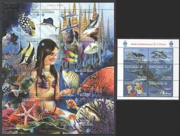 PK086 1998 MADAGASIKARA FISH MARINE LIFE LA PETITE SIRENE INTERNATIONAL YEAR OF THE OCEAN 1SH+1KB MNH - Vita Acquatica