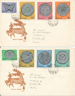 Hungary Covers With Complete Set Of 8 Art Haklasi Csipke On 2 Covers With Cachet Sent To Austria 17-4-1964 - Hungary