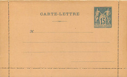 CARTE LETTRE Entier Postal 15 C Type Sage Sans Avis ( Dim : 129 / 80mn ) Ref J4a - Letter Cards