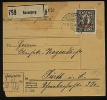 S2742 DR Infla 133 EF Auf Paketkarte : Gebraucht Rosenberg - Fürth 1920, Bedarfserhaltung , 75 Euro Michel Katalogwert - Brieven En Documenten
