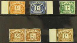 POSTAGE DUE  1955-57 (wmk W 165) ½d, 1d & 1½d (SG D46/48), 5d (SG D52) Horiz Pair, And 1s (SG D53), Never Hinged Mint. ( - 1952-.... (Elisabetta II)