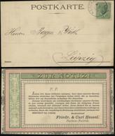 S2360 DR Vertreter Firmen Postkarte: Gebraucht Nerschau - Leipzig 1883, Bedarfserhaltung. - Brieven En Documenten